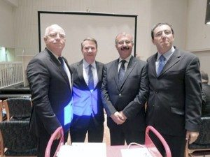 Promoting environmental harmony (l. to r.) Jordanian director Monqeth Mehyar, Port resident and international board member Rick Grove, Palestinian director Nadar al-Khateeb and Israeli director Gidon Bromberg