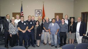 It was a time for giving heroes their due at the last Manorhaven Board of Trustees meeting. Mal Nathan, Max Fleming, Bill Purcell, Thomas Lampus, Jose Mauricio Soriano, Kevin Nicoll, Kevin Watt and Michael Weidner were honored for their efforts to prevent even more loss of life and property damage when a boat in Manhasset Bay caught flames after filling up at Manhasset Bay Marina, killing the boat's owner. The heroes are flanked on far right by Guy LaMotta, the marina's owner, Manorhaven Mayor Giovanna Giunta (c.) and Mayor Barbara Donahue to her right, along with village trustees and village attorney James Toner.