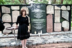 Lee Seeman at the dedication of the beautifully restored cemetery in Serok, Poland.