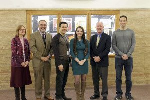 From left: Superintendent of Schools Dr. Kathleen Mooney, Schreiber High School Principal Ira Pernick, Assistant Principal Dr. Bradley Fitzgerald, Intel Science Talent Search competition semifinalist Caitlin Ferris, social science research teacher Dr. David O'Connor and Social Studies Department Chairman Lawrence Schultz
