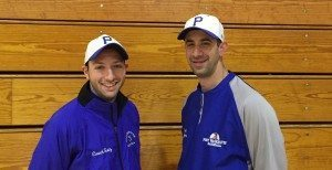 Varsity Softball Coach Eric Sutz and Varsity Baseball Coach Matt Holzer working together to support a great cause