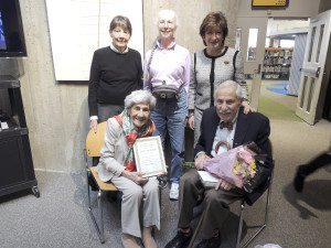 Pictured, Nancy Wright, Lauren Smith and Amy Bass from the FOL with Miss Lucy and Myron Blumenfeld