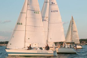Sailors enjoying Manhasset Bay on an evening race last year that took them out to Long Island Sound and back