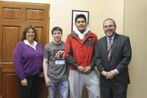 Sam Goldman and Elmer Mendez with District Director of Athletics Stephanie Joannon and Schreiber High School Principal Ira Pernick