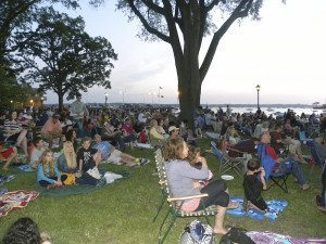 Residents enjoy a movie during the 2014 Cinema on the Bay events.