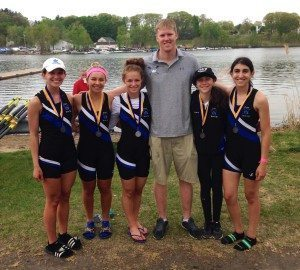 The Girls Lightweight 4+ team (from left): Ashley Meyer, Jess Sims, Molly Alstadt, Coach Darren Gary, Maddy Lavin and Eva Tamkin
