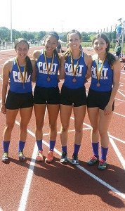 Girls 4x100 relay team: Jenny Aguiar, Beatriz Chavarria, Laura Russo and Christina Marinelli (Alternate Catalina Salvatierra, not pictured)