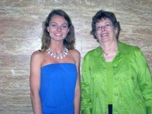 Scholarship recipient Faith Ausfresser and Music Study Club of Port Washington President Mary Watts
