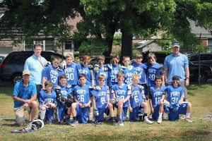 Coaches McCarvill, Lowe and Cassidy with the PYA boys lacrosse 11 year old team