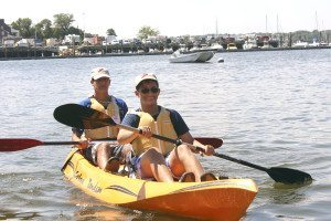 Rising juniors at Schreiber, Justin Harnick and Mitchell Levine in their Cobra Tandem from Atlantic Outfitters.