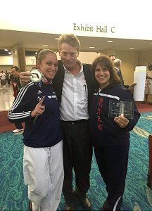 Ashley Davis, gold medalist; Tokey Hill; Christina Muccini, Finegan 2015 United Olympic committee, USA Karate, Coach of the Year