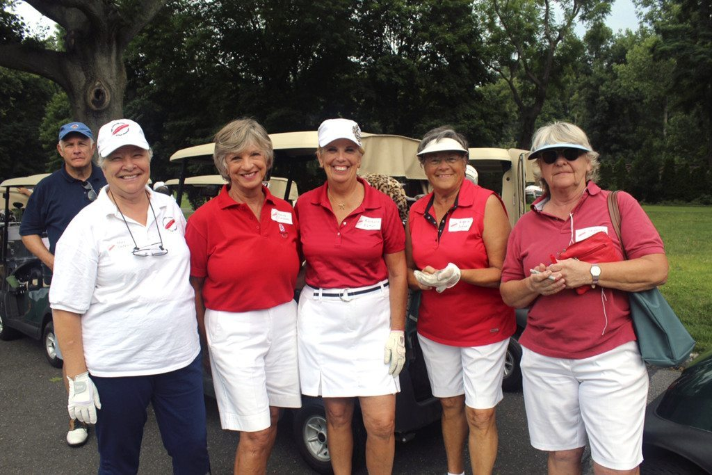 From left: Mary DeNisco, Community Chest board member, waits to tee off with Sandy Cardiello, Barbara Romano, Angela Jaggar and Jacqueline Lincy—friends from Port Washington.