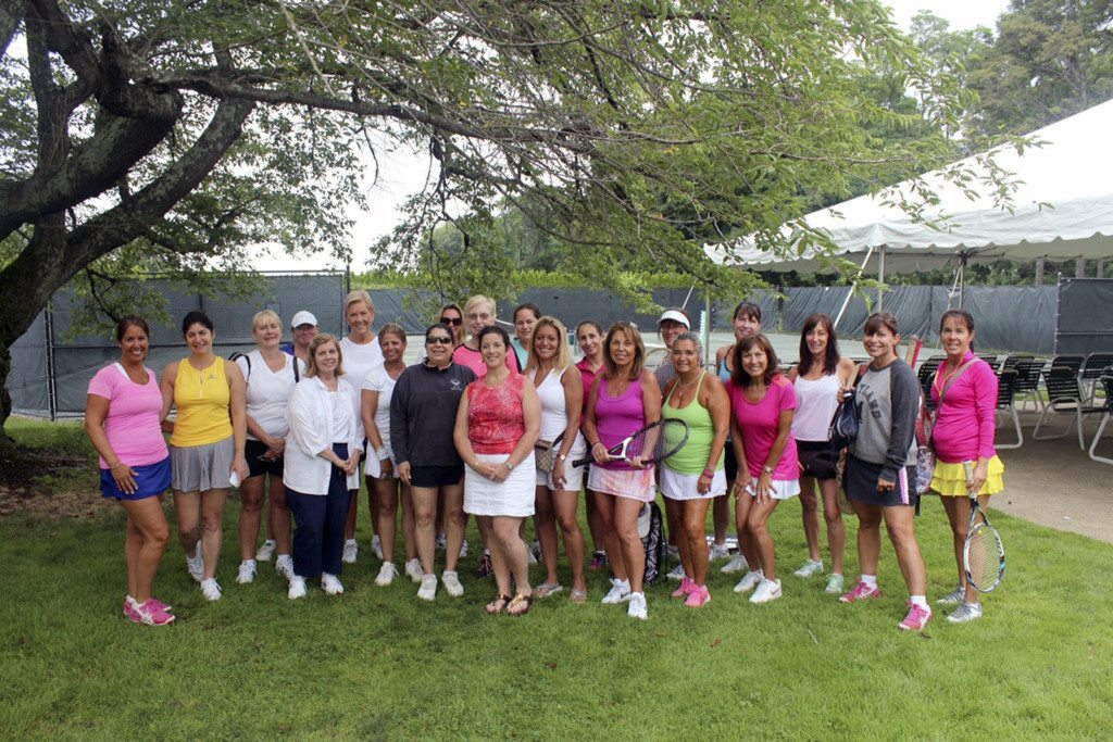 "Ladies from the 2015 Community Chest Tennis ""Open"" just prior to playing heated round robin tennis for nearly three hours."