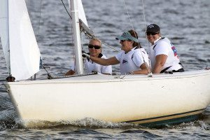 Representing Port Washington YC at Manhasset Bay Race Week:  L to R:  Lara Curto, Catherine Einhaus, and Dawn Wands.