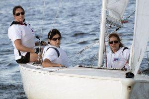 Ladies Sailing at Manhasset Bay Race Week.  Representing Port Washington YC, Kate Walz, Valerie Taylor and Dawn Serignese.