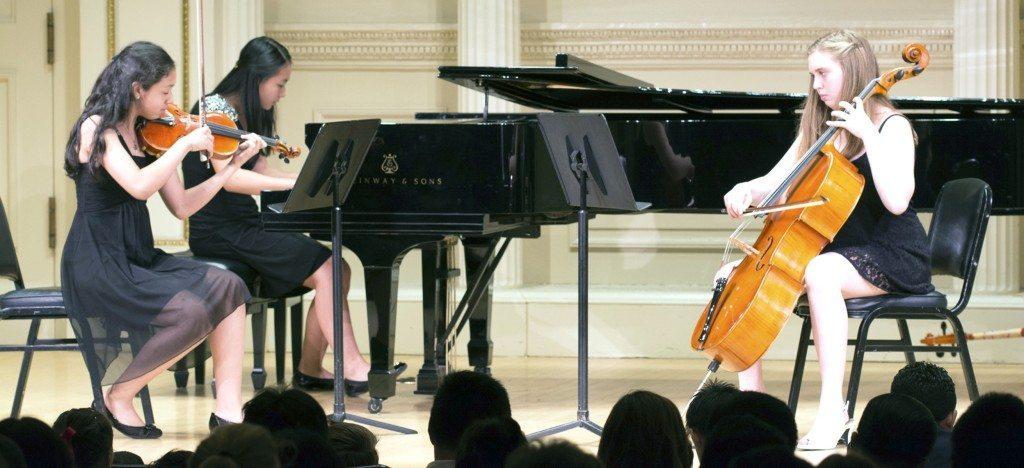 Christine Ramirez, violin, Glen Head; Ilana Grossman, cello, Dix Hills and Sherry Shi, piano, Sands Point