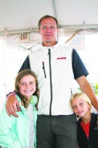 Anthony Dekkers and his children, Luca, 5, and Anabella, 9, who raced on Avalanche at the Charity Cup Regatta.