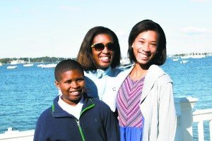 Junior sailors Jessica and Phillip Price raised funds for the charity. They are seen here with their mom, Renee.