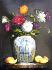 """Dalias in a Ginger Jar"" by Frances Ianarella, oil"