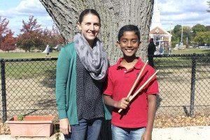 Caleb Thomas and his band teacher Elizabeth Andrew (Photo courtesy of the Port Washington Union Free School District)