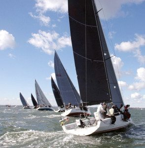 Start of a division at the 37th Annual Manhasset Bay YC Fall Series.  (Photo by Doug Stebbins)