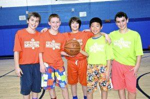 Participants in PYA's basketball program