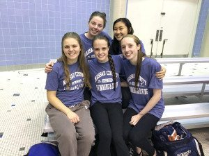 From left, back: Anna Thompson and Senior Captain Ashley Ye;  seated: Senior Captain Delia Rush, Molly McLoughlin, Annabelle Corcoran