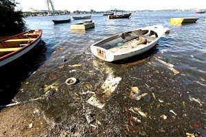 Rio de Janeiro's Guanabara Bay where the sailing events will be held during the 2016 Summer Olympics, is famously filthy. Photo Credit: Mario Tama/Getty