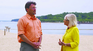 A scene from Off the Trail, Ranger Eric Powers and Supervisor Judi Bosworth talk about horseshoe crabs.