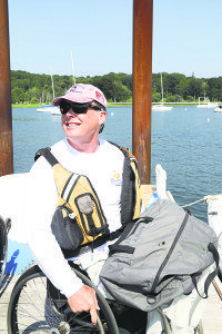 A sailor waiting to get onboard his Sonar.