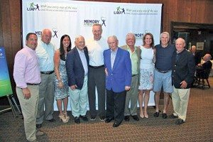 St. John's University Men's Basketball Head Coach Chris Mullin (center) with members of the LIAF Golf Committee, from left: Todd Hesekiel of Plainview, Tom Rogers of Melville, Tori Cohen of Old Bethpage, Joe Saggesse of Manhasset, Steve Hess of Manhasset, Ed Galvin of Great Neck, Christine Rice of Garden City, Paul Eibeler of Glen Cove and Tom Killeen of Manhasset at the 23rd LIAF Golf Outing.