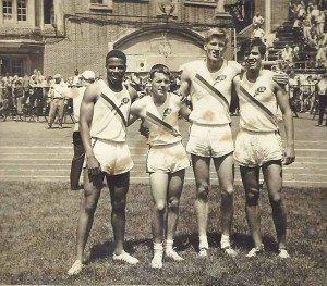 The Penn Relays held at Franklin Field in Philadelphia, April 28-29, 1962. From left: Jim Thorpe, Bill Piggott, Ken Howard and Paddy McCrary
