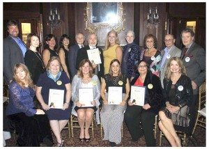 Art Guild Gala honorees, along with board members, Leg. Delia DeRiggi-Whitton and Sands Point Mayor Ed Adler. DeRiggi-Whitton presented the honorees with Certificates of Appreciation on behalf of Nassau County.