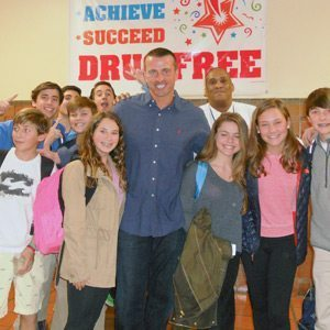Chris Herren with students from a nearby high school
