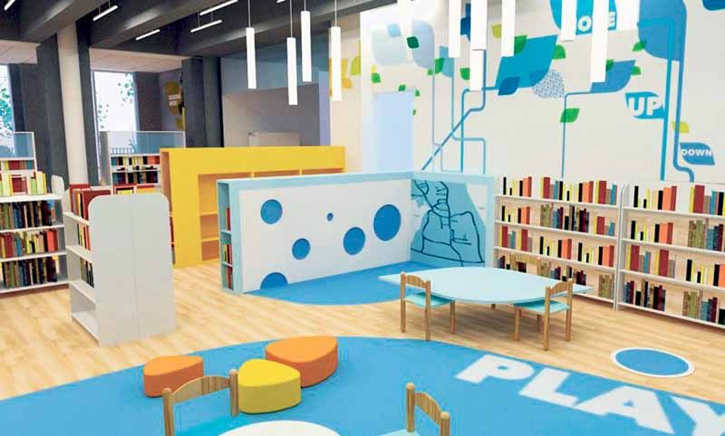 Rendering of renovated story time area.